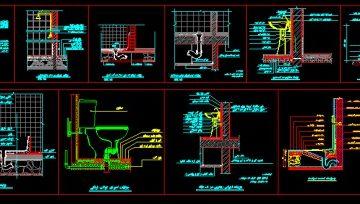 دانلود نقشه اتوکد جزییات اجرایی عایق بندی حمام ، توالت فرنگی و ایرانی، سینک ، دستشویی
