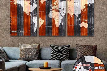 دانلود نقشه جهان با جزئیات دارای بافت زمینه چوب مناسب چاپ برای تابلو دیواری