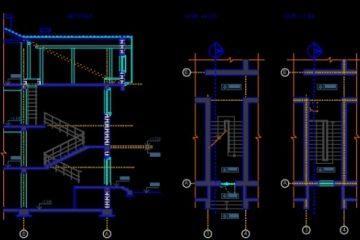 فایل اتوکد طراحی باکس راه پله  با پلان و برش و نما