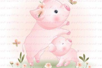 وکتور کارتونی خوک مادر و بچه در باغ گل-کد 139