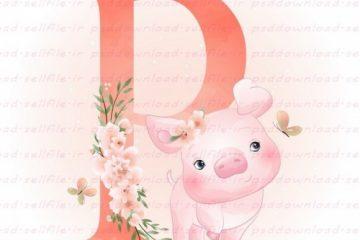 وکتور کارتونی حرف P و بچه خوک -کد 140