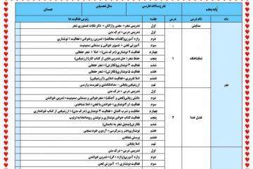 طرح درس سالانه فارسی پنجم ابتدایی