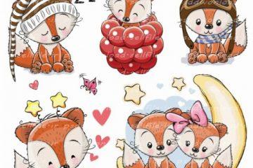 وکتور کارتونی بچه روباه های با مزه در 5 طرح -کد 774