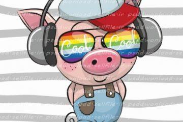 وکتور کارتونی بچه خوک خونسرد -کد 777