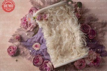 بک دراپ نوزاد تخت خواب گل آرایی -کد 7642