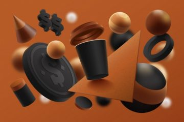 رندر سه بعدی از پوستر قهوه