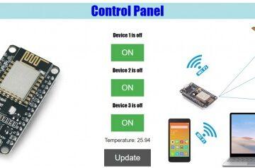 کنترل وسایل برقی با موبایل و کامپیوتر به همراه مانیتور دما