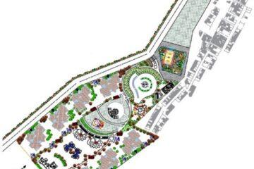 پروژه اتوکد مجموعه شهرک مسکونی با طراحی کامل فضای سبز به همراه بانک و مسجد و مدرسه