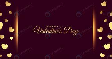 بنر برای ولنتاین با قلب های طلایی